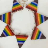 Rainbow striped fused glass bunting