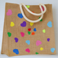 Sweet Hearts, hand sewn, mixed colours, applique felt hearts, large jute bag