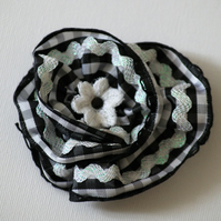 Ribbon spiral twist, black & white checked textile brooch accessory, small gift