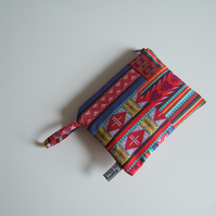 Graphic vintage fabric small make up bag or purse