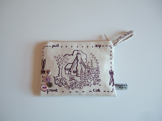 Hand screen printed coin purse, pouch, cosmetics or make up bag  F19