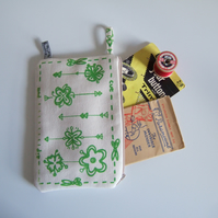 Green hand screen printed cosmetics, make up bag or purse.