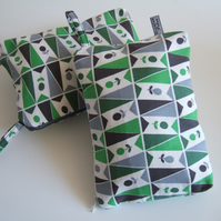 1960's vintage fabric purse, make up or toiletries bag with olives design.