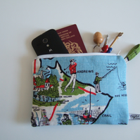 Scottish teatowel with St. Andrews, golf and fishing. Man bag, wallet or purse.