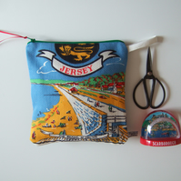 St. Helier Jersey. Vintage teatowel pouch, makeup, purse or toiletries bag.