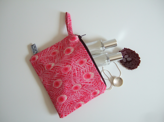 Pink peacock feather make up bag, coin purse or pouch