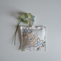 French lavender bag sewn from a vintage embroidered tablecloth.