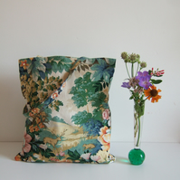 Tote or book bag made from vintage Sanderson fabric with a woodlands theme.