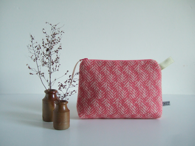 Pink tweed or pink wool large purse, make up bag or toiletries bag with zip