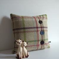 Checked woollen cushion with 3 vintage button opening and feather pad.
