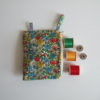 Bright floral Liberty fabric purse, make up or headphones bag. Mothers Day gift.