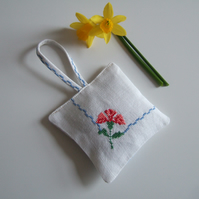 Vintage embroidery lavender bag, filled with Yorkshire lavender