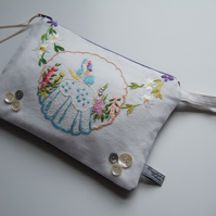 Crinoline lady vintage embroidery toiletries, make up bag or pouch.