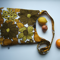Bold 1970's vintage floral across your body bag or beach bag.