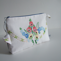 Vintage floral embroidery with foxgloves. Zip up purse, clutch, or keepsakes bag