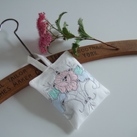 Lavender bag made from pastel vintage embroidery, with Yorkshire lavender
