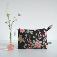 Vintage fabric pink roses. Toiletries bag, make up bag, or clutch bag.