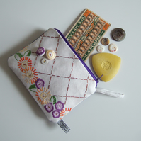 Make up bag, coin purse or zip up purse, made from vintage embroidery.