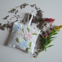 Lavender bag made from pastel vintage applique and dried Yorkshire lavender