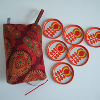 Toiletries make up or storage bag, made from vintage Indian hand printed cotton.