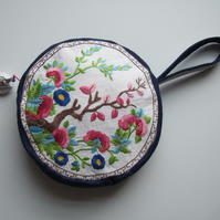 Circular shoulder bag, occasions bag or clutch bag. Vintage hand sewn embroidery