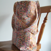 Tote bag shopping bag or book bag made from vintage 1980's co-ordinating fabrics
