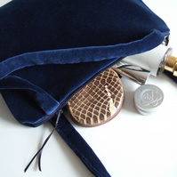 Blue velvet shoulder bag, evening bag or occasions bag with zip.