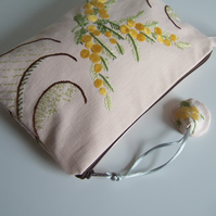 Yellow floral vintage embroidery make up bag, toiletries bag, or clutch bag.