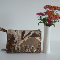 Hedgerow design vintage fabric toiletries, make up or storage bag