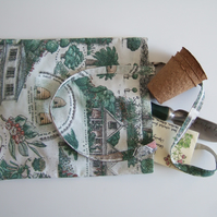 Vintage fabric tote bag, shopping bag or book bag. With gardens, herbs and bees.