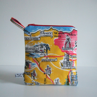 Vintage tea towel purse or make up bag with scenes of Devon.