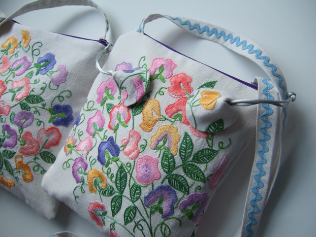 Sweet Pea Vintage Embroidery Across Your Body O Folksy