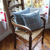 Vintage Welsh wool tapestry cushion and feather pad.