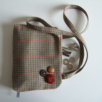 Checked woollen fabric zip up shoulder bag
