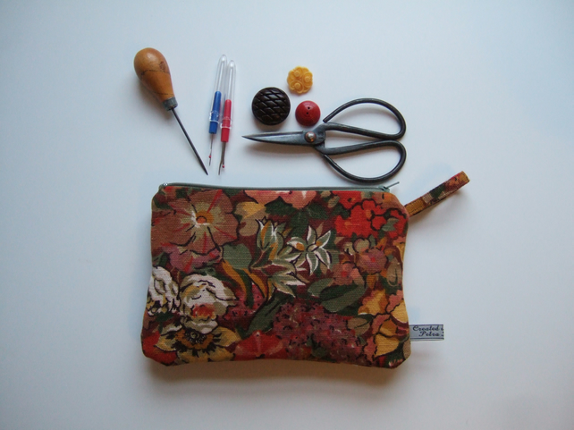 Vintage Liberty purse, make up or cosmetics bag, 1970's design.