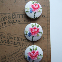 Three extra-large covered buttons with vintage roses embroidery.