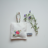 Vintage rose embroidered lavender bag with dried Yorkshire lavender.