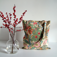 Vintage Liberty lilies fabric tote, book bag or shopping bag.