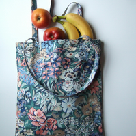 Vintage floral Liberty fabric, tote or book bag. Present for Mum.
