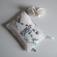 Vintage embroidery Japanese lady and blossom make up bag