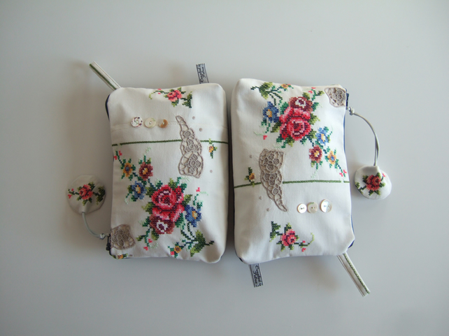 Vintage roses embroidery clutch or make up bag. Mother's day.