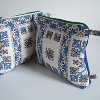 Geometric vintage embroidery, make up bag or clutch. Present for Mum.