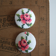 Two extra-large covered buttons with vintage roses embroidery. Present for Mum.