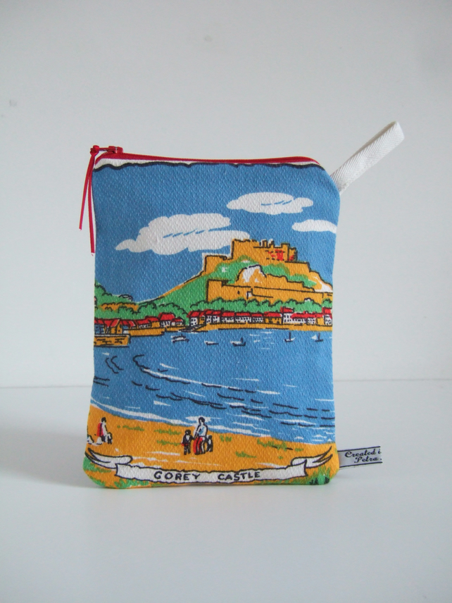 Seaside holiday in Jersey, vintage tea towel pouch, make up or man bag