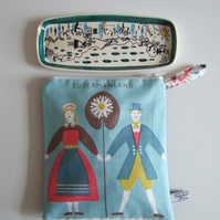 Swedish folk art vintage tablecloth make up or cosmetics bag from Sodermanland