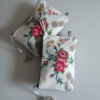 Embroidered vintage roses clutch bag or special occasions bag.