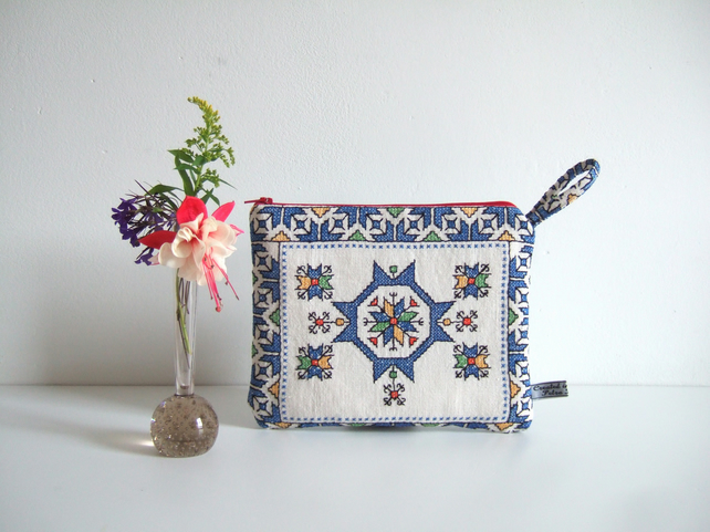 Vintage embroidery geometric pattern  purse, make up bag or man bag