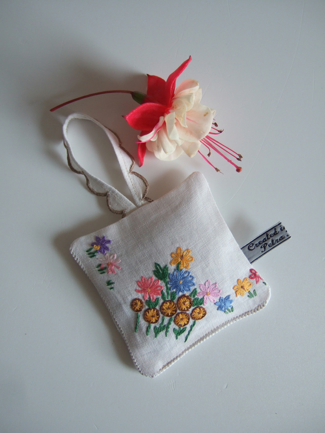 Yorkshire lavender bag with tiny vintage floral embroidery