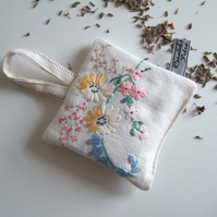 Vintage embroidery lavender bag with pastel flowers and Yorkshire lavender