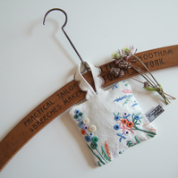 Vintage embroidery lavender bag with tiny flowers and dried Yorkshire lavender.